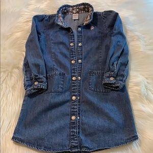 Gymboree Blue Denim Snap Front Dress SZ 6
